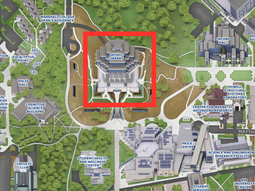 Campus map with Geisel Library circled